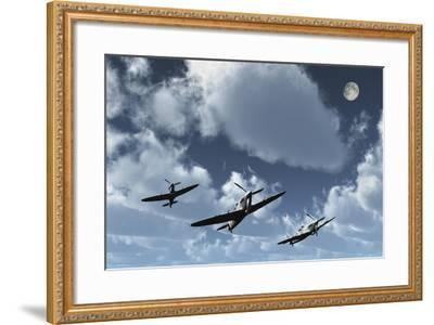 A Formation of Royal Air Force Supermarine Spitfires-Stocktrek Images-Framed Art Print