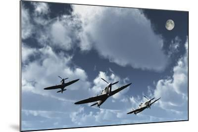 A Formation of Royal Air Force Supermarine Spitfires-Stocktrek Images-Mounted Art Print