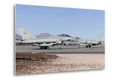 Two Royal Air Force Typhoon Fighters on the Ramp at Nellis Air Force Base, Nevada-Stocktrek Images-Metal Print