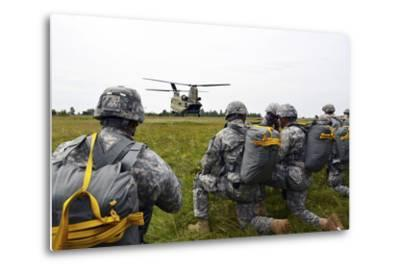 U.S. Army Paratroopers Prepare to Board a Ch-47 Chinook-Stocktrek Images-Metal Print