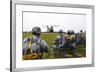 U.S. Army Paratroopers Prepare to Board a Ch-47 Chinook-Stocktrek Images-Framed Photographic Print