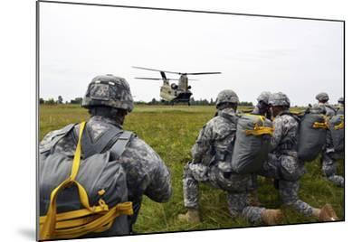 U.S. Army Paratroopers Prepare to Board a Ch-47 Chinook-Stocktrek Images-Mounted Photographic Print