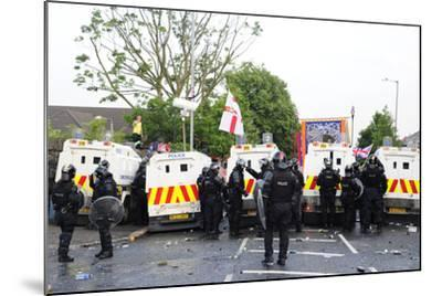 Loyalist Protesters Attack Police Lines at the Albertbridge Road in Belfast, Northern Ireland-Stocktrek Images-Mounted Photographic Print