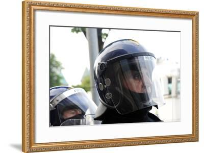 Loyalist Protesters Attack Police Lines at the Albertbridge Road in Belfast, Northern Ireland-Stocktrek Images-Framed Photographic Print