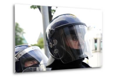 Loyalist Protesters Attack Police Lines at the Albertbridge Road in Belfast, Northern Ireland-Stocktrek Images-Metal Print