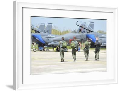 U.S. Air Force F-15E Strike Eagle Pilots Walking to their Jets-Stocktrek Images-Framed Photographic Print
