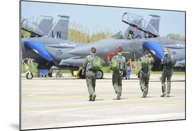U.S. Air Force F-15E Strike Eagle Pilots Walking to their Jets-Stocktrek Images-Mounted Photographic Print