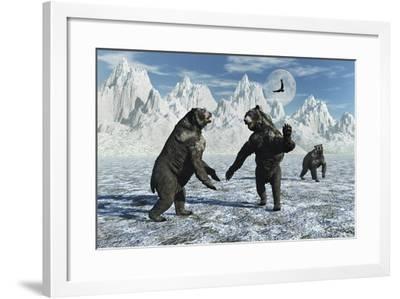 A Pair of Arctodus Bears in a Territorial Dispute-Stocktrek Images-Framed Art Print