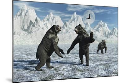 A Pair of Arctodus Bears in a Territorial Dispute-Stocktrek Images-Mounted Art Print