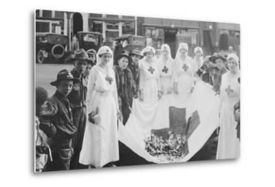 American Red Cross Workers During a Red Cross Parade-Stocktrek Images-Metal Print