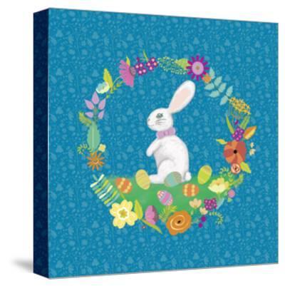 Bunny Wreath II-Chariklia Zarris-Stretched Canvas Print