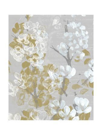 Mustard on Grey Blooms II-Jennifer Goldberger-Framed Art Print