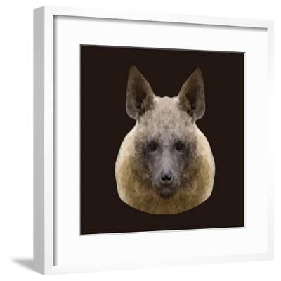 Canine Beast of Pray, Hyena, Low Poly Vector Portrait Illustration-Jan Fidler-Framed Photographic Print