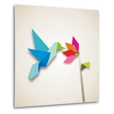 Origami Pastel Colors Hummingbird Vector File Available-Cienpies Design-Metal Print
