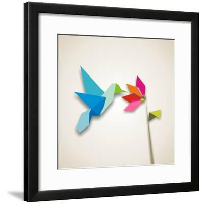 Origami Pastel Colors Hummingbird Vector File Available-Cienpies Design-Framed Photographic Print
