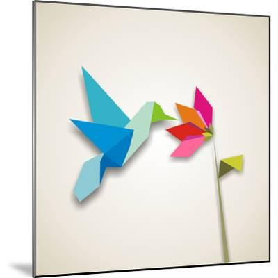 Origami Pastel Colors Hummingbird Vector File Available-Cienpies Design-Mounted Photographic Print