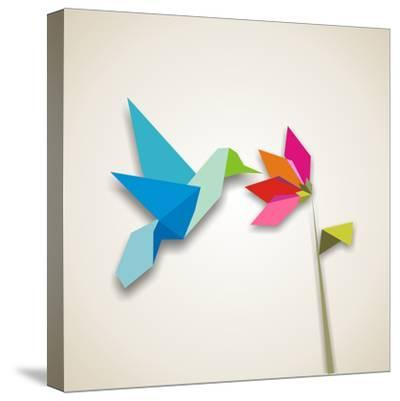 Origami Pastel Colors Hummingbird Vector File Available-Cienpies Design-Stretched Canvas Print