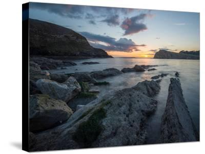 A View Along the Ledges at Lulworth Cove in Dorset-Chris Button-Stretched Canvas Print