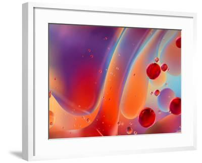 Beautiful Abstract Colorful Background, Oil on Water Surface- Abstract Oil Work-Framed Photographic Print