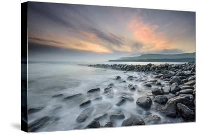 A View of Clavell's Pier Near Kimmeridge-Chris Button-Stretched Canvas Print
