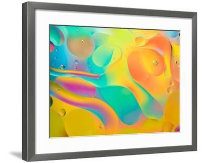 Abstract Colorful Background, Oil Drops on Water- Abstract Oil Work-Framed Photographic Print