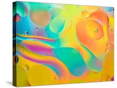 Abstract Colorful Background, Oil Drops on Water- Abstract Oil Work-Stretched Canvas Print