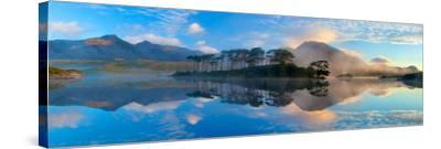 Misty Morning Reflection of the Twelve Bens in Derryclare Lough, Connemara, Co Galway, Ireland-Gareth McCormack-Stretched Canvas Print