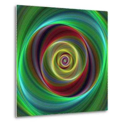 Colorful Abstract Geometric Spiral Design Background-David Zydd-Metal Print