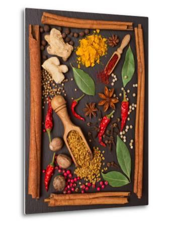 Still Life with Spices and Herbs in the Frame-Andrii Gorulko-Metal Print