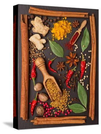 Still Life with Spices and Herbs in the Frame-Andrii Gorulko-Stretched Canvas Print