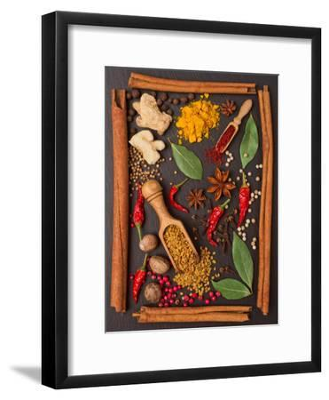 Still Life with Spices and Herbs in the Frame-Andrii Gorulko-Framed Photographic Print