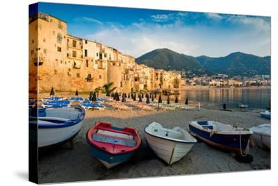 View of the Old Town. Cefalu, Sicily-James Lange-Stretched Canvas Print