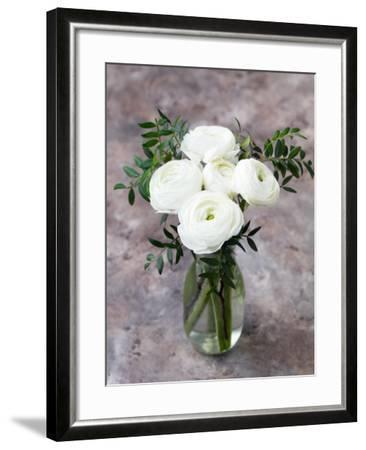 White Ranunculus Flowers in Vase Grey Background-Anna Pustynnikova-Framed Photographic Print