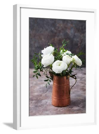 White Ranunculus Flowers Brown Background-Anna Pustynnikova-Framed Photographic Print