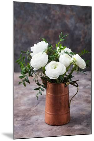 White Ranunculus Flowers Brown Background-Anna Pustynnikova-Mounted Photographic Print