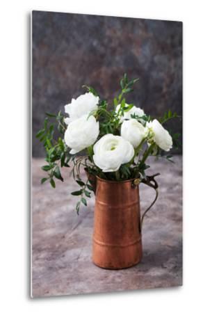 White Ranunculus Flowers Brown Background-Anna Pustynnikova-Metal Print