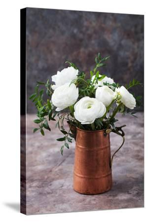 White Ranunculus Flowers Brown Background-Anna Pustynnikova-Stretched Canvas Print
