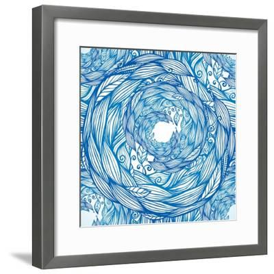 Blue Ornate Doodle Foliage Circle Seamless Pattern-Elena Solovova-Framed Photographic Print