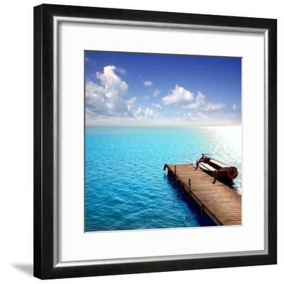 Albufera Blue Boats Lake in El Saler Valencia Spain- Miscellaneoustock-Framed Photographic Print