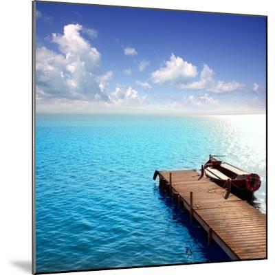 Albufera Blue Boats Lake in El Saler Valencia Spain- Miscellaneoustock-Mounted Photographic Print