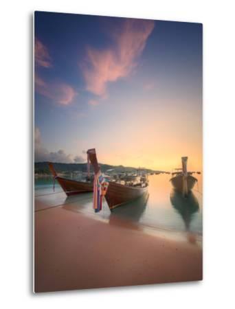 Beautiful Image of Sunrise with Colorful Sky and Longtail Boat on the Sea Tropical Beach. Thailand-Hanna Slavinska-Metal Print