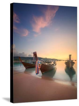Beautiful Image of Sunrise with Colorful Sky and Longtail Boat on the Sea Tropical Beach. Thailand-Hanna Slavinska-Stretched Canvas Print