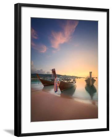 Beautiful Image of Sunrise with Colorful Sky and Longtail Boat on the Sea Tropical Beach. Thailand-Hanna Slavinska-Framed Photographic Print