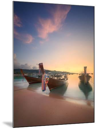 Beautiful Image of Sunrise with Colorful Sky and Longtail Boat on the Sea Tropical Beach. Thailand-Hanna Slavinska-Mounted Photographic Print