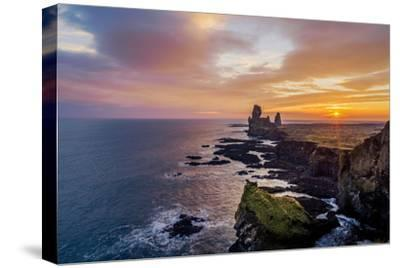 Sunset over the Londrangar Sea Stacks and the Thufubjarg Cliffs, Snaefellnes Peninsula, Iceland-Arctic-Images-Stretched Canvas Print