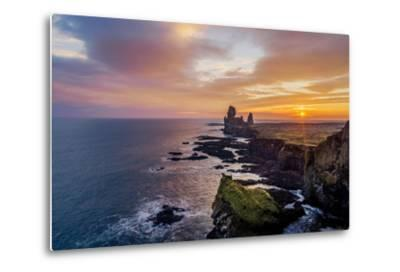 Sunset over the Londrangar Sea Stacks and the Thufubjarg Cliffs, Snaefellnes Peninsula, Iceland-Arctic-Images-Metal Print