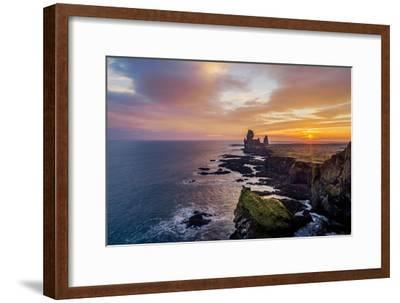 Sunset over the Londrangar Sea Stacks and the Thufubjarg Cliffs, Snaefellnes Peninsula, Iceland-Arctic-Images-Framed Photographic Print