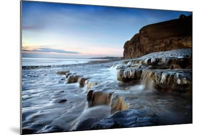 Waterfall on Monknash Beach-Ann Clark Landscapes-Mounted Photographic Print