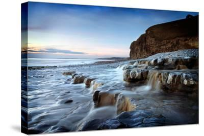 Waterfall on Monknash Beach-Ann Clark Landscapes-Stretched Canvas Print
