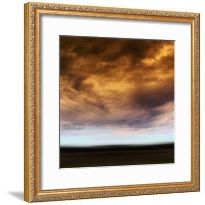 Square Orange Vivid Radiation Cloudscape Storm Motion Abstractio-Nickolay Loginov-Framed Photographic Print